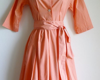 SALE Vintage french cotton shirtdress in a salmon color S/XS