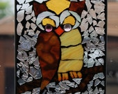 owl,  Mosaic Stained Glass  wise OWL SunCatcher or wall Decoration