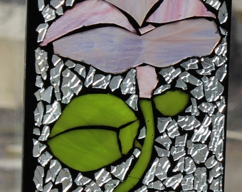 Pink Morningglory   Mosaic ,Stained Glass SunCatcher or wall Decoration
