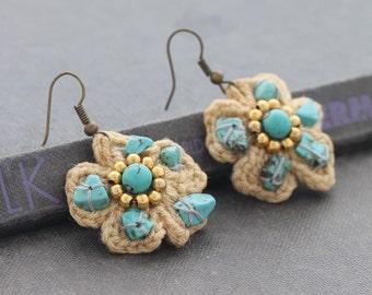 Petite Crochet Flower Pastel Earrings