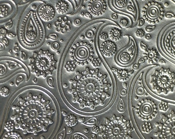 Nickel Silver Textured Metal Sheet Paisley Pattern 20g - 6 x 2 1/4 inches - Bracelets Pendants Metalwork