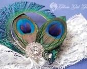 PEACOCK Wedding Garter Set, Ivory Lace Bridal Garters with Bling, Rhinestones, Rustic- Country- Vintage Bride