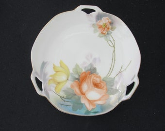 Vintage RS Germany 3 Handled Serving Plate Hand Painted Florals with Gold Trim