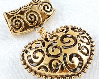 Scarf Pendant - Antique Gold Filgree Heart Scarf Jewelry