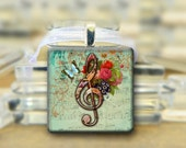 Musical Note Pendant, Glass Pink Blue Butterfly Treble Clef Music Necklace Square #397