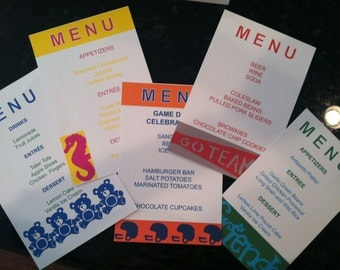 Custom Table Menu Card Made to Match Custom Paper Napkins - Party  Table Decorations