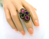 Vintage Sarah Coventry Ring, Austrian Lites From 1973 - Adjustable