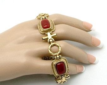 Vintage Toggle Bracelet Carnelian(?) Stones