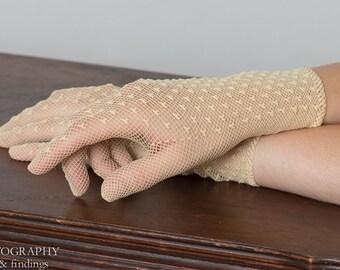 Vintage crocheted Raw Silk Gloves