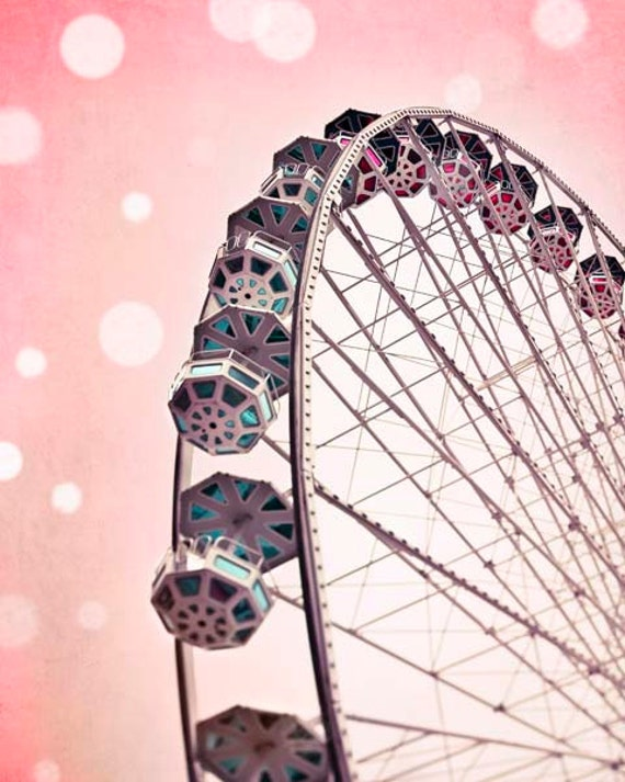 Pink Carnival Prints, Ferris Wheel, Dreamy, Pink, Baby Girl Nursery Decor, Pastel, Circus, Nursery Art Prints