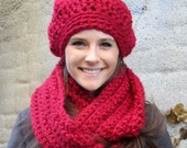 Infinity Scarf and Matching Beret - Poinsettia Sparkle