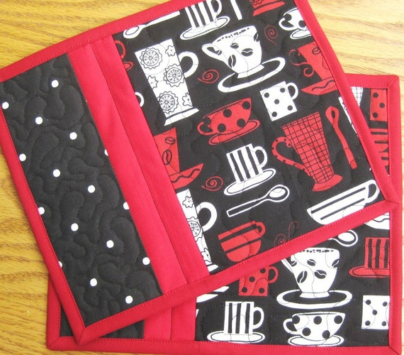 Coffee Cup Mug Rug Quilted Handmade Cotton Fabric Patchwork Snack Trivet Gift Idea For Her 2 Set