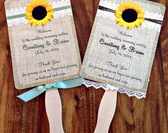 Wedding Fan Burlap, Lace , Sunflower Printed Wedding Fan / Fall Rustic