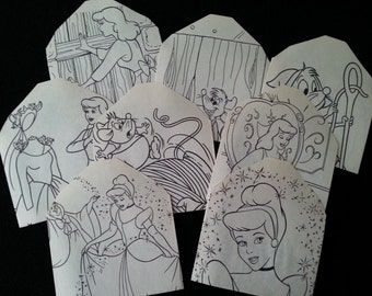 Cinderella Coloring Book Upcycled Envelopes