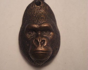 Gorilla pendant necklace NEW Western Lowland gorilla  bronze finish