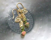 Unakite Gemstone Heart Earrings -Uniquely You- Grassy Green, Peachy Salmon on Gold, Peridot
