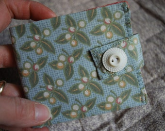 Thin Billfold wallet - spring buds - coin pocket - FREE SHIPPING