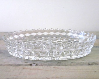 Vintage Cut Glass Divided Dish Relish Dish