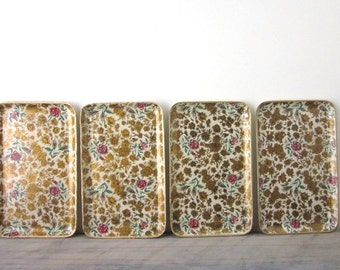 Vintage Paper Mache Chintz Pattern Trays from Japan Set of Four
