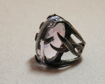 Pink Amethyst  Jewelry Pink Amethyst Gemstone  Sterling Silver Oxsidized Handmade  Ring