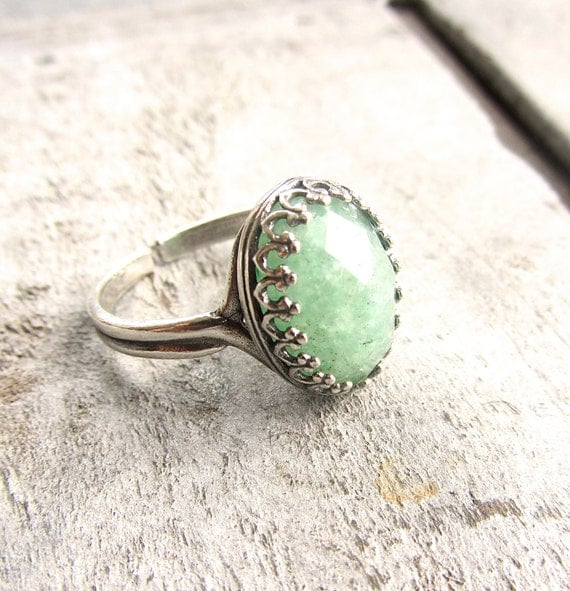 Penny Lane Green Aventurine Sterling Silver Boho Cocktail Ring