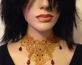 Gold Lace and Garnet Crystal Choker