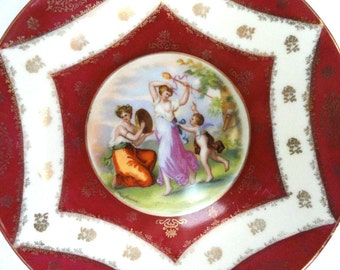 Austria Kaufmann Courting Couples Plate Burgandy Circa 1900's// Vintage China//Antique Plate//Wall Decor