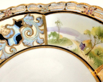 "Gorgeous Nippon 10"" Serving Bowl Panelled Scenes Heavy Gilded Gold// Vintage Serveware//Entertaining Dining"