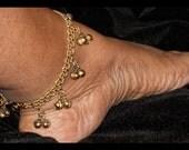 Gold Bell Anklet, Gold Ankle Bracelet, Gold Charm Anklet, Jingle Bell Anklet, Charm Ankle Bracelet, Gold Bell Anklet, Summer Jewelry