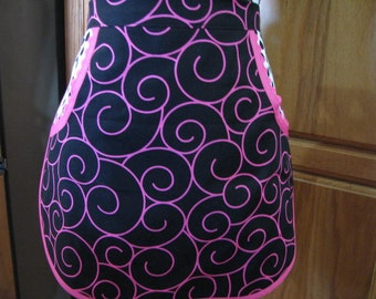 Now on Sale  Ladies Pink and Black Half Apron