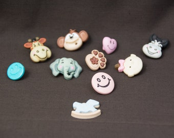 Ten Happy Faces Buttons