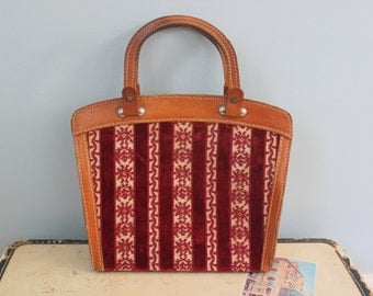 1960s leather bag / 60s leather and velvet purse / Striped velvet floral hand bag