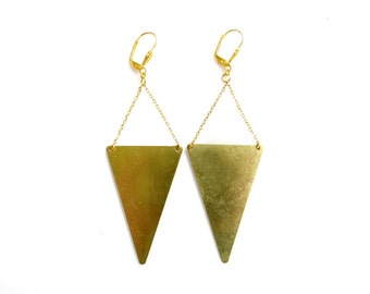 Large Triangle Earrings, Minimal Geometric Handmade Earrings, Raw Brass Statement Earrings