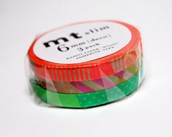 3 x 6mm x 10M Mt thin washi tape rolls