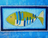 Blue and Lime Fish with Stripes with Turquoise and Navy Border 24 x 36 inch Painted Canvas Floor Cloth Rectangular Rug