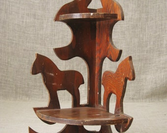Curio Shelf , Folk Art , Shelf , Folk Art Shelf , Corner Shelf , Horse , Small Shelf , Handmade , Folk Art Primitive , Rustic Shelf