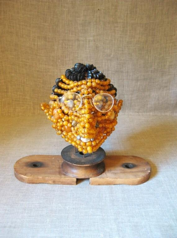 Folk Art Male Portrait , Male Bust , Wil Shepherd , Folk Art , Beaded Head , Handmade , Bust Folk Art , Bead Work , Wil Shepherd Studio