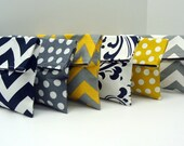 SIX Bridesmaid Clutches in Navy Yellow Gray