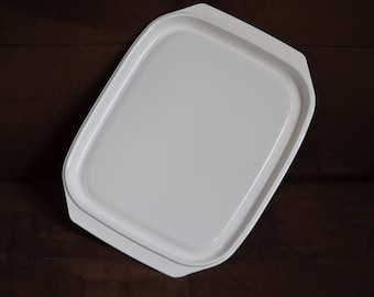 Microwave Platter Litton Micro-Browner Steak Grill Platter--White Serving Platter-- 80's