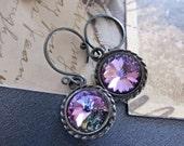 Swarovski crystal earrings, gorgeous color, handmade earrings in a custom after market effect Purple Haze