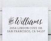 Custom Address Stamp, Return Address Stamp, Wedding address stamp, Calligraphy Address Stamp, Self inking or Eco Mount stamp- Williams