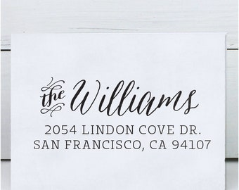 Custom Address Stamp, Return Address Stamp, Wedding address stamp, Calligraphy Address Stamp, Self inking or Eco Mount stamp- Williams