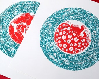 Little Red Riding Hood limited edition screen print set
