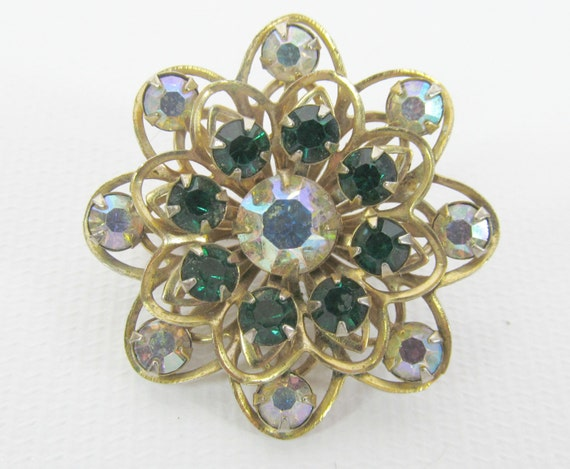 Vintage Aurora Borealis and Emerald Rhinestone Flower Star Brooch
