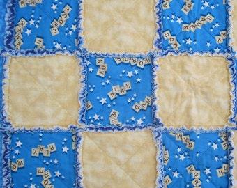 "Rag Quilt Patchwork Quilt ""Scrabble Game"" Quiltsy Handmade, Blue and Yellow Flannel Lap Throw, Original Design, Alphabet Quilt"