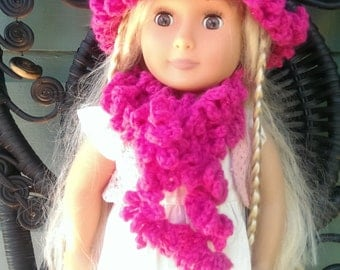 American Girl Crocheted Delicious Raspberry Curly Scarf and Hat