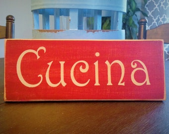 10x4 CUCINA (Choose Color) Rustic Shabby Chic Italian Sign