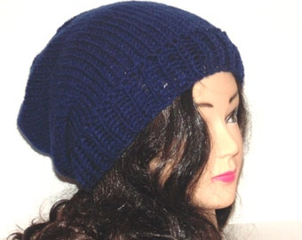 Navy Blue Hat, Knit Slouchy Beanie, Handmade Hat, Mens Accessories, Womans Accessories, Winter Hat, Fall Hat, Hipster Hat
