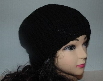 Knitted Black Beanie, Slouchy Hat, Black Hat, Winter Hat, Fall Hat
