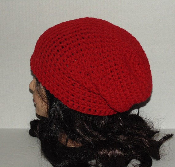 Red Crochet Slouchy Beanie Hat Valentines Day Hat by CrochetKnit30